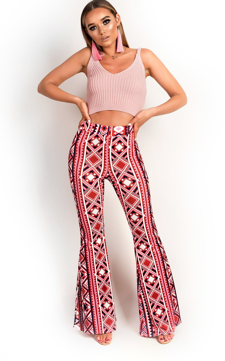 Maxi Aztec Flared Stretch Trousers in Pink