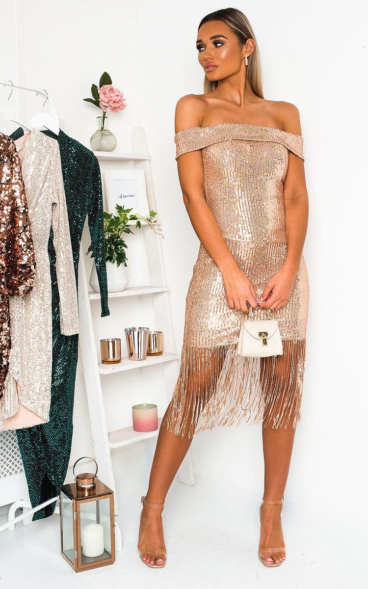 Melanie Sequin Tassled Midi Dress in Gold
