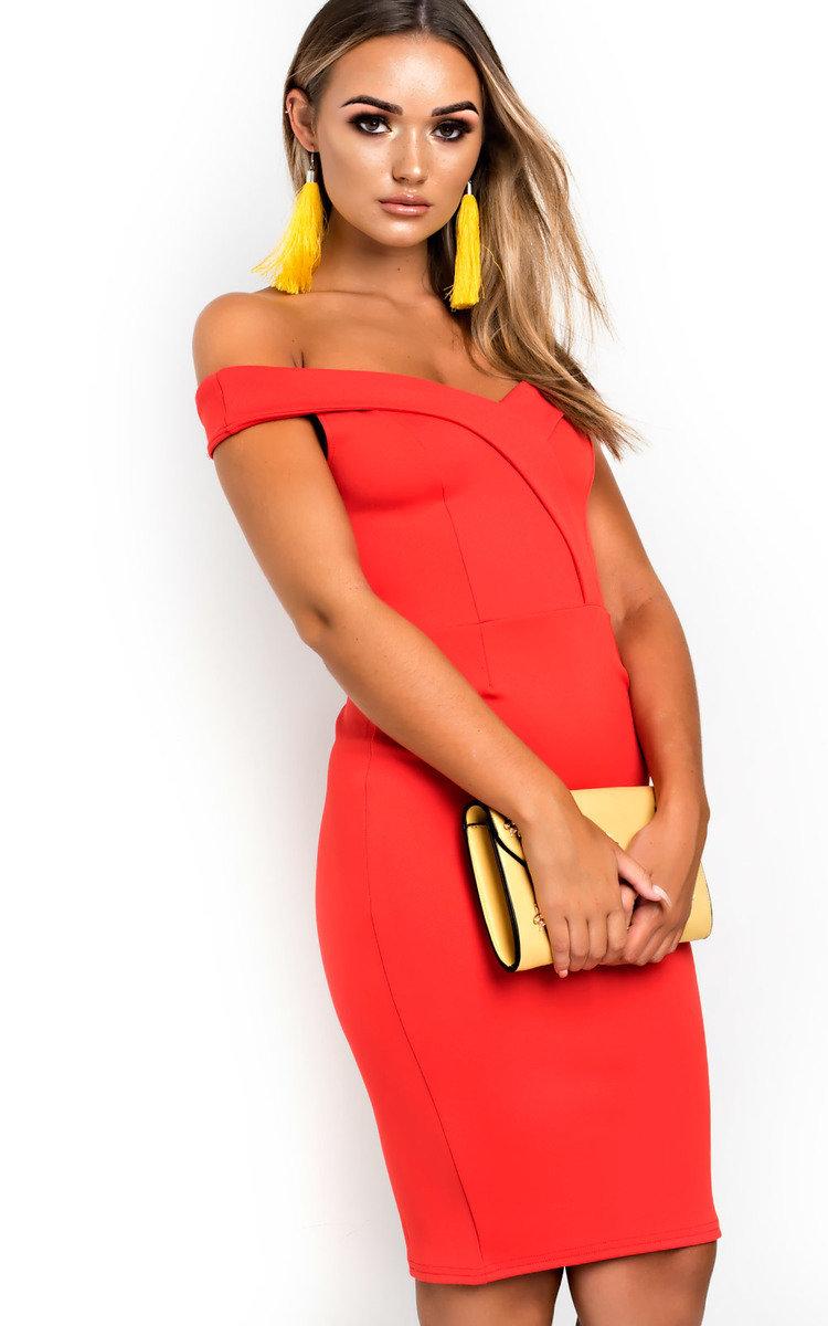 ~SASKIA~ Red Floral Bardot Flare Sleeve Summer Off Shoulder Top 6 8 10 12 14