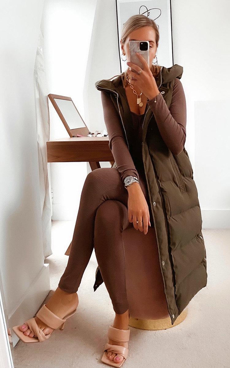 Mia Sleeveless Puffer Jacket in Khaki
