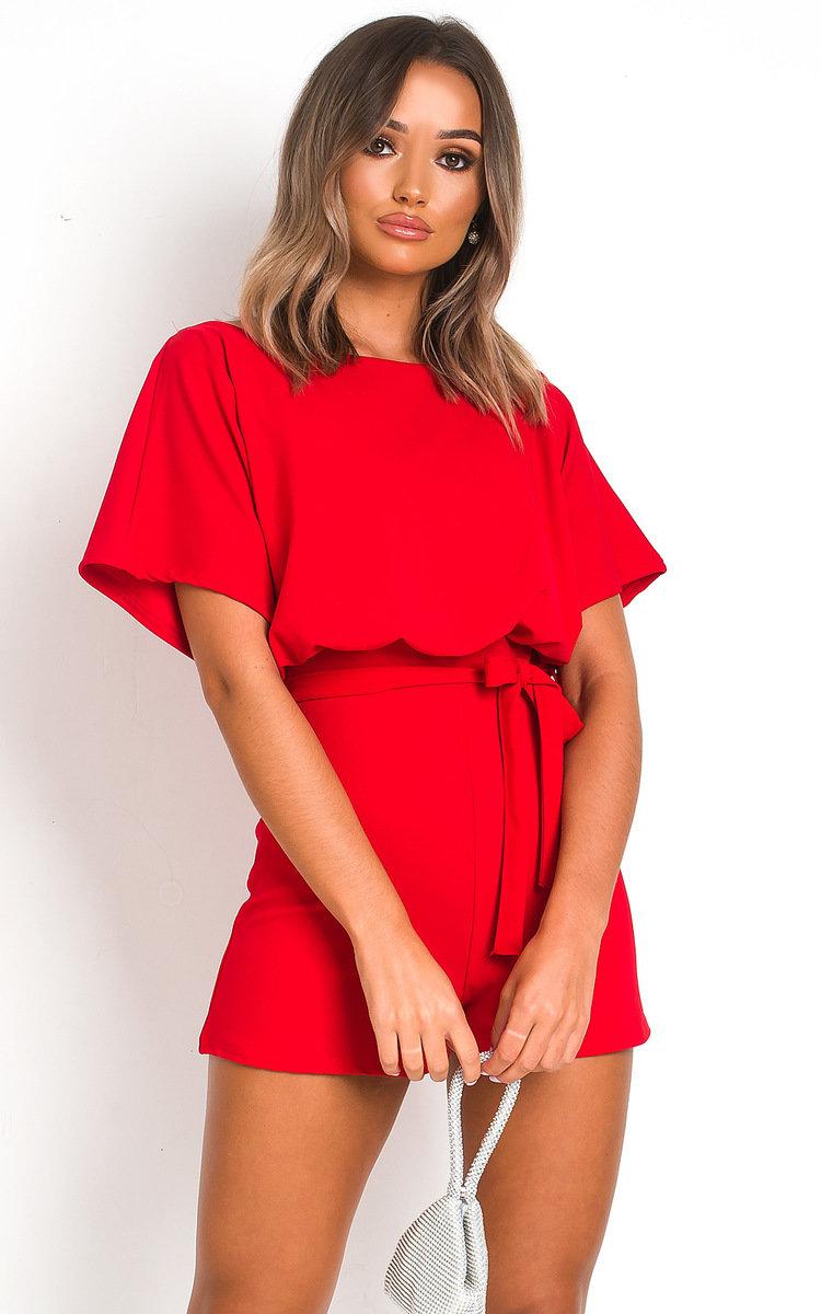 Mila Tie Waist Playsuit in Red