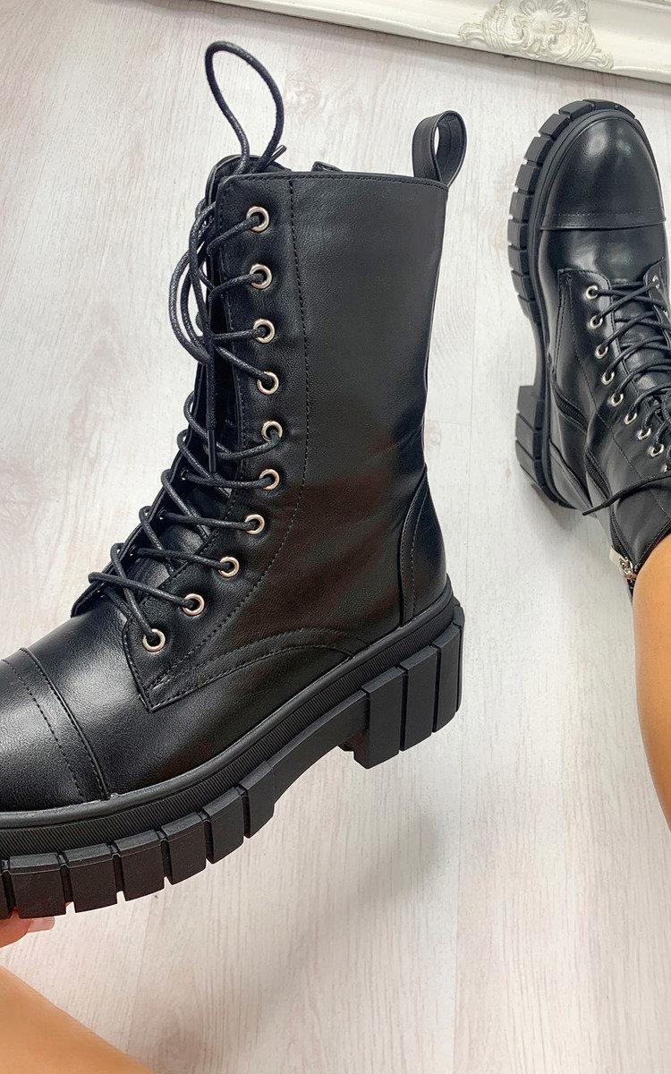 Mills Faux Leather Biker Boots in Black