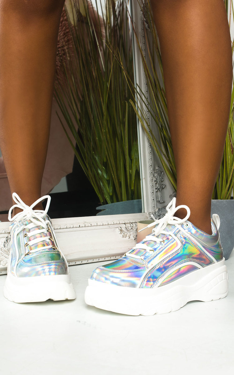 Mindy Holographic Chunky Trainers in Silver
