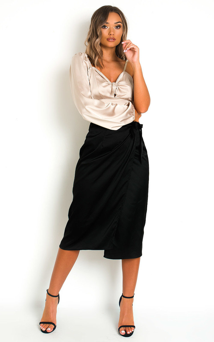 Mirrin Satin Midi Skirt in Black