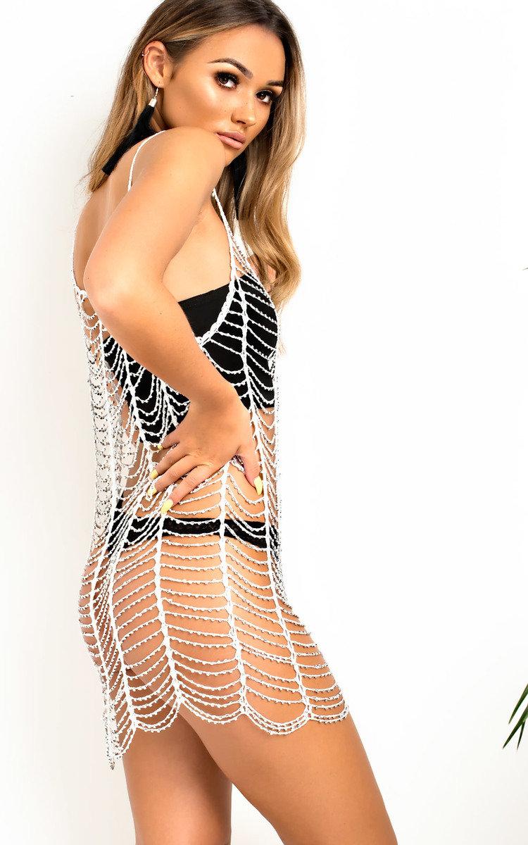 IKRUSH Womens Mistee Mesh Cut Out Diamante Dress