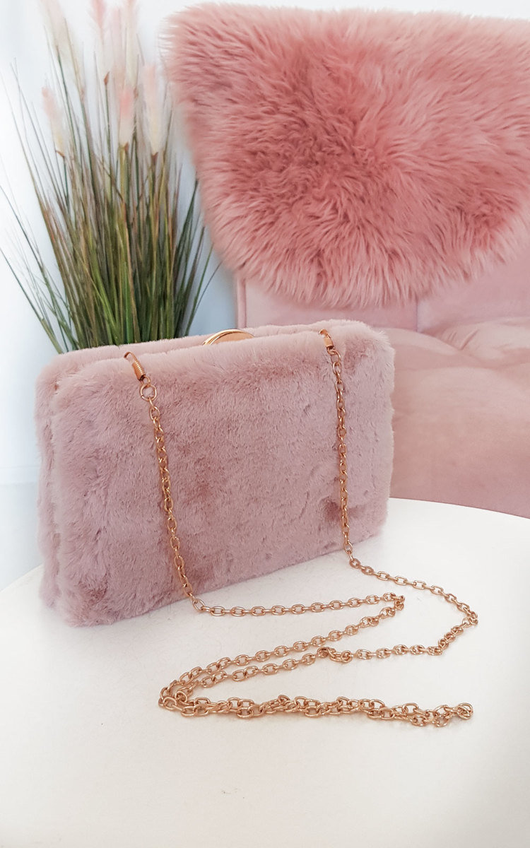 Misty Faux Fur Clutch Bag in Pink
