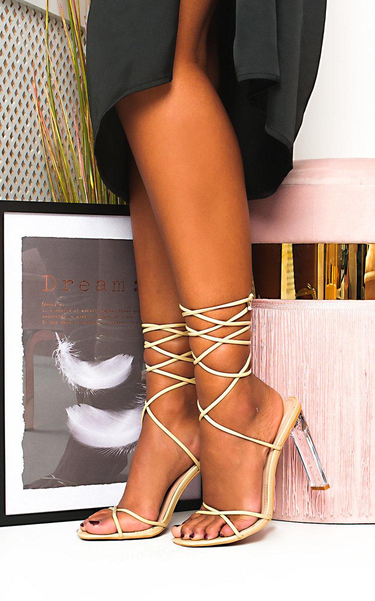 Misty Tie Up Perspex Heels in Nude | ikrush
