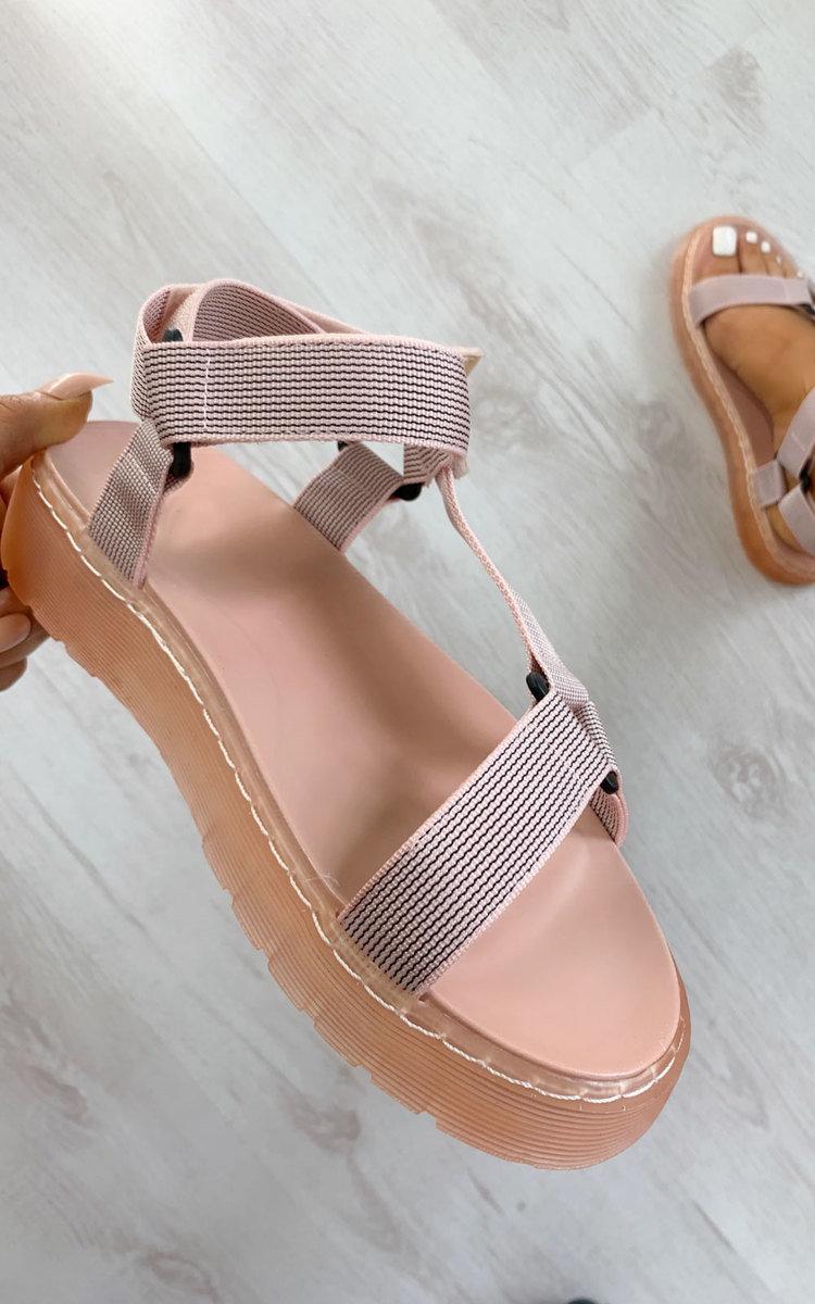 Monikh Strappy Velcro Sandals in Pink