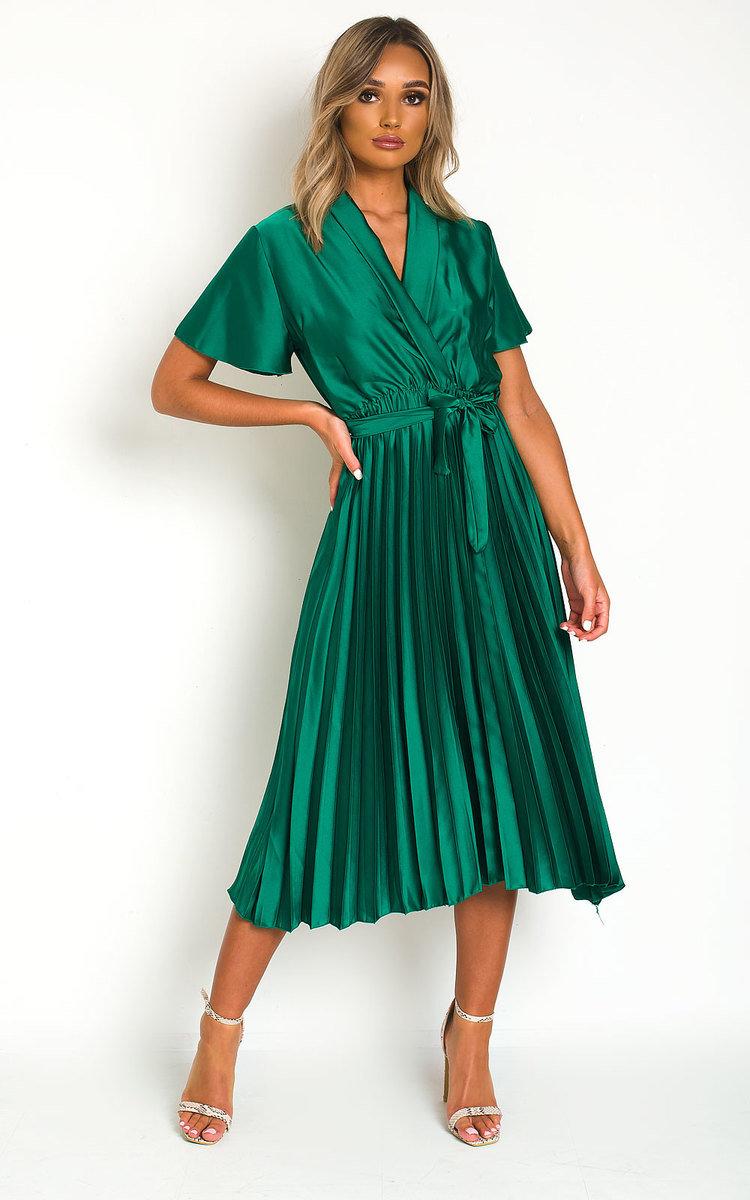 Natalia Satin Pleat Midi Dress in Green