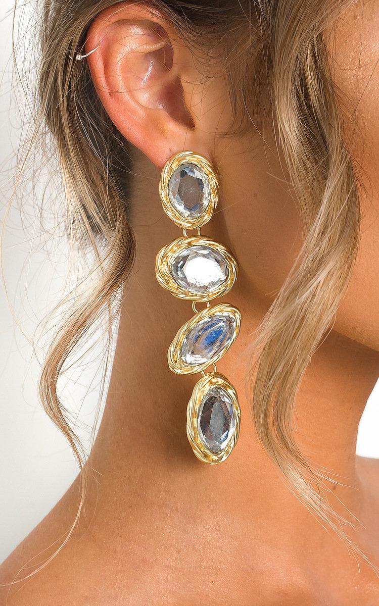 Neeka Multi Jewel Drop Earrings in Gold