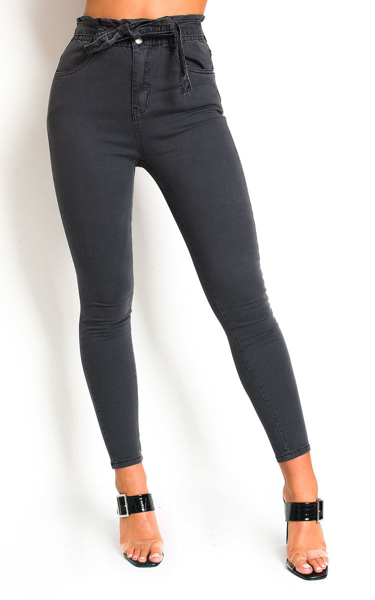 Nicki Tie Waist Denim Jeans in Grey
