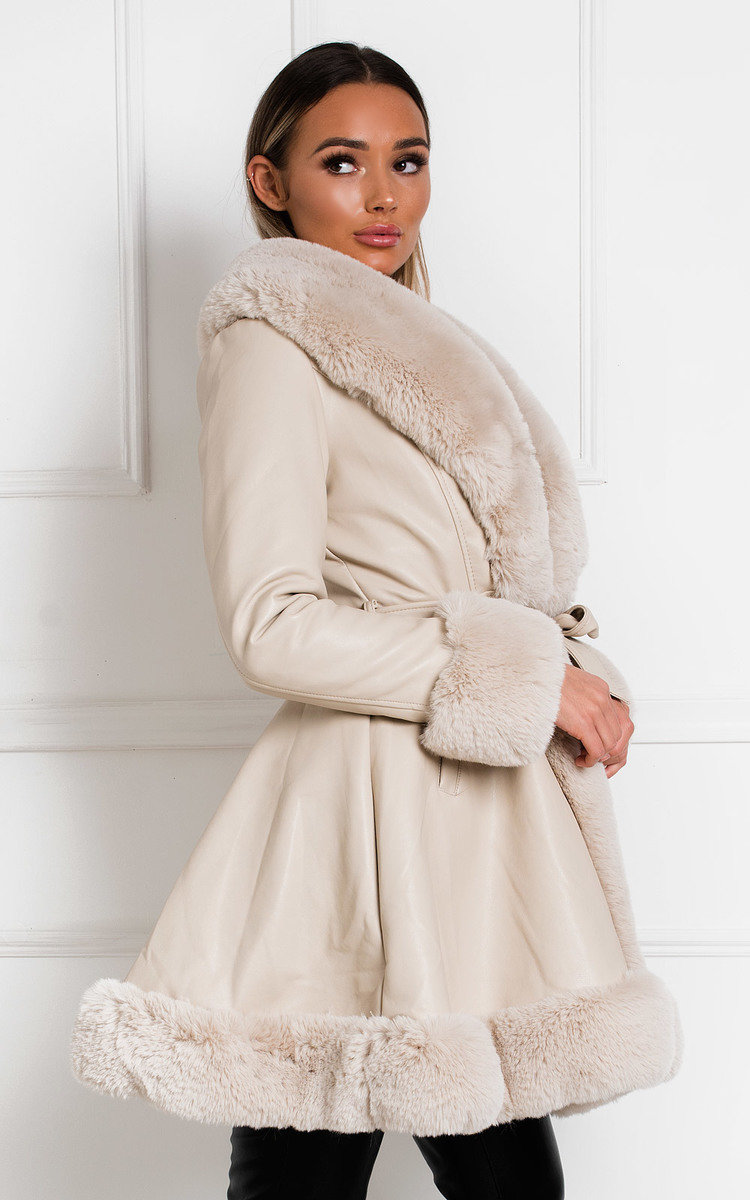 Normani Faux Leather Coat in Beige