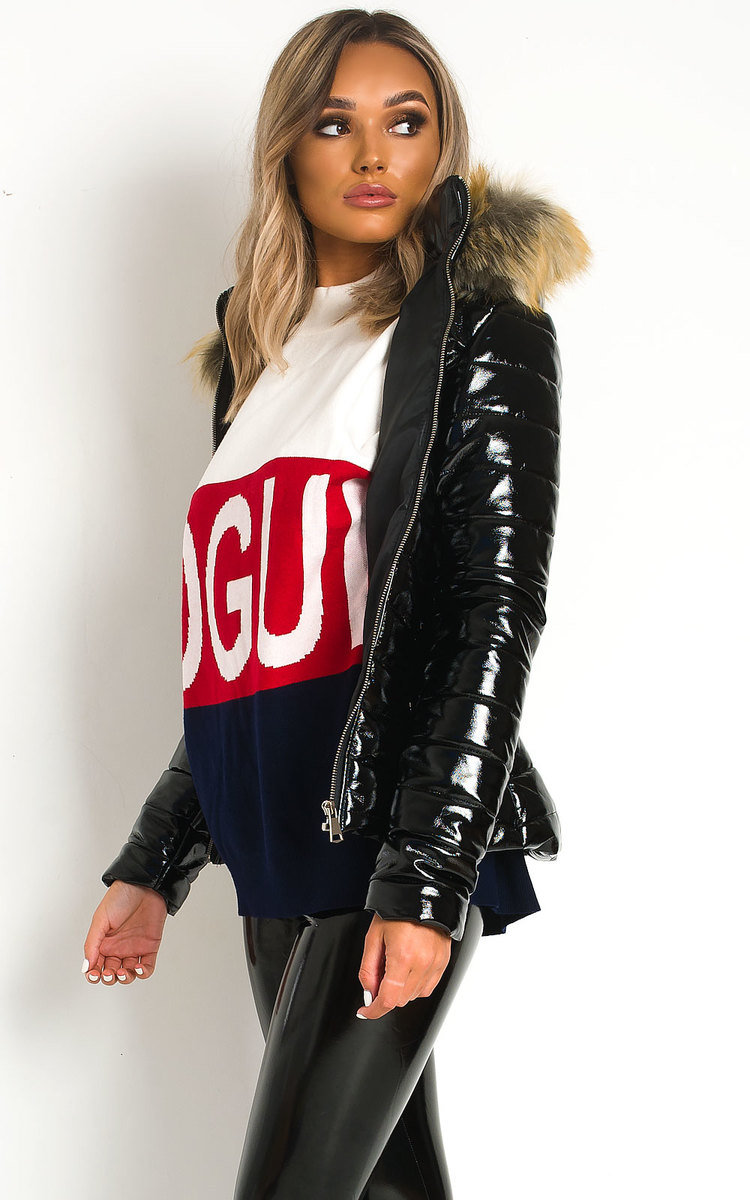 Olga Padded Faux Fur Hood Puffer Jacket in Black