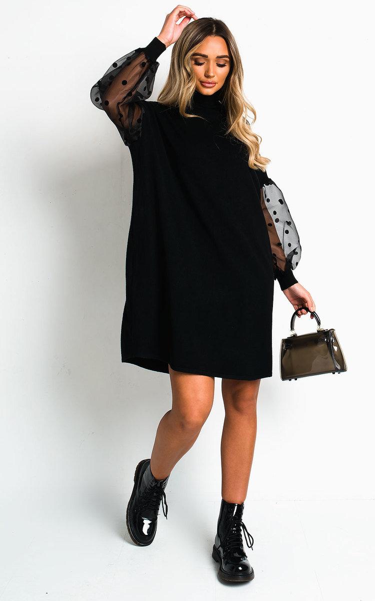 Pennie Polka Dot Sleeve Jumper Dress in Black