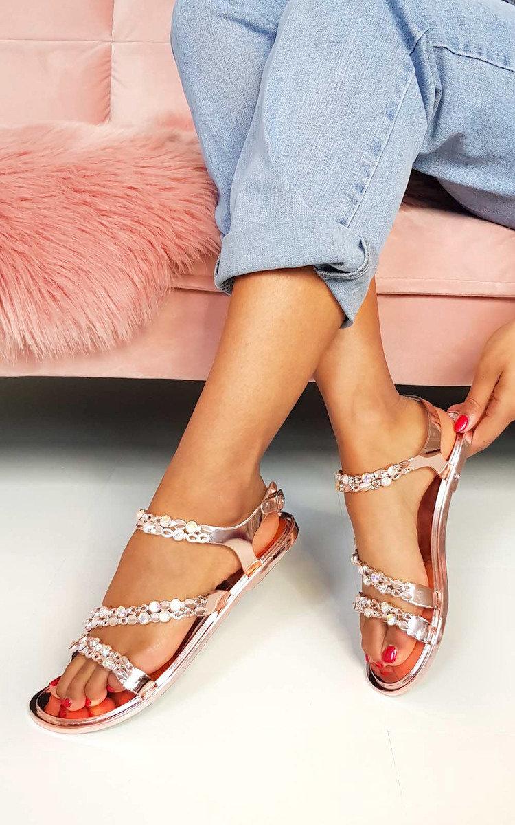 Pia Metallic Diamante Strappy Sandals in Rose gold