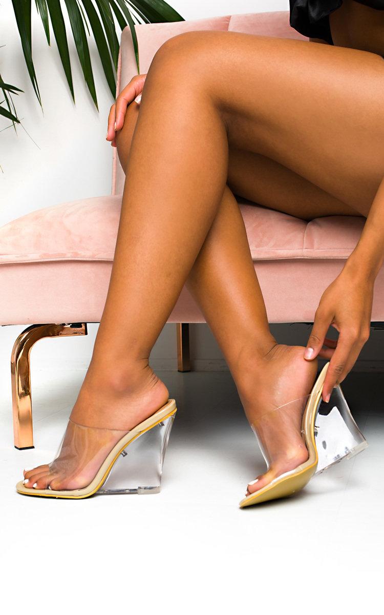 Pollie Perspex Wedge Mule Heels in Nude