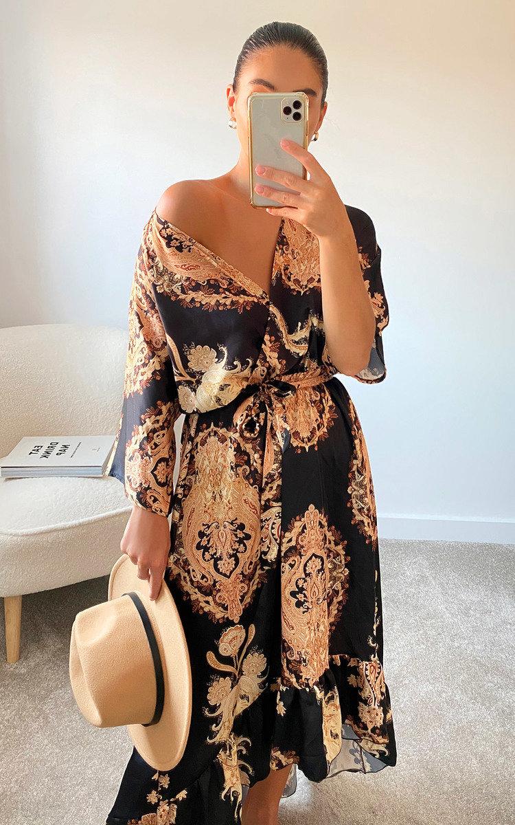 Quinn Printed Wrap Midi Dress in Black