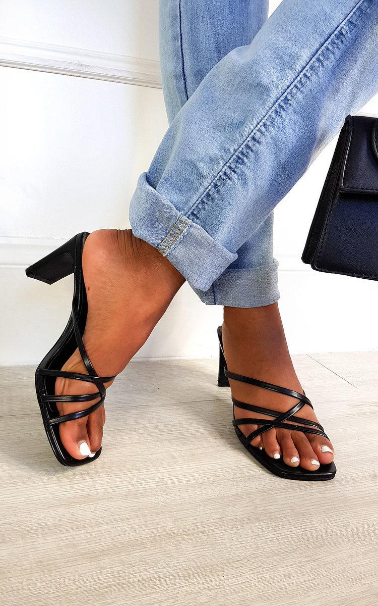Rae Strappy Mule Heels in Black | ikrush