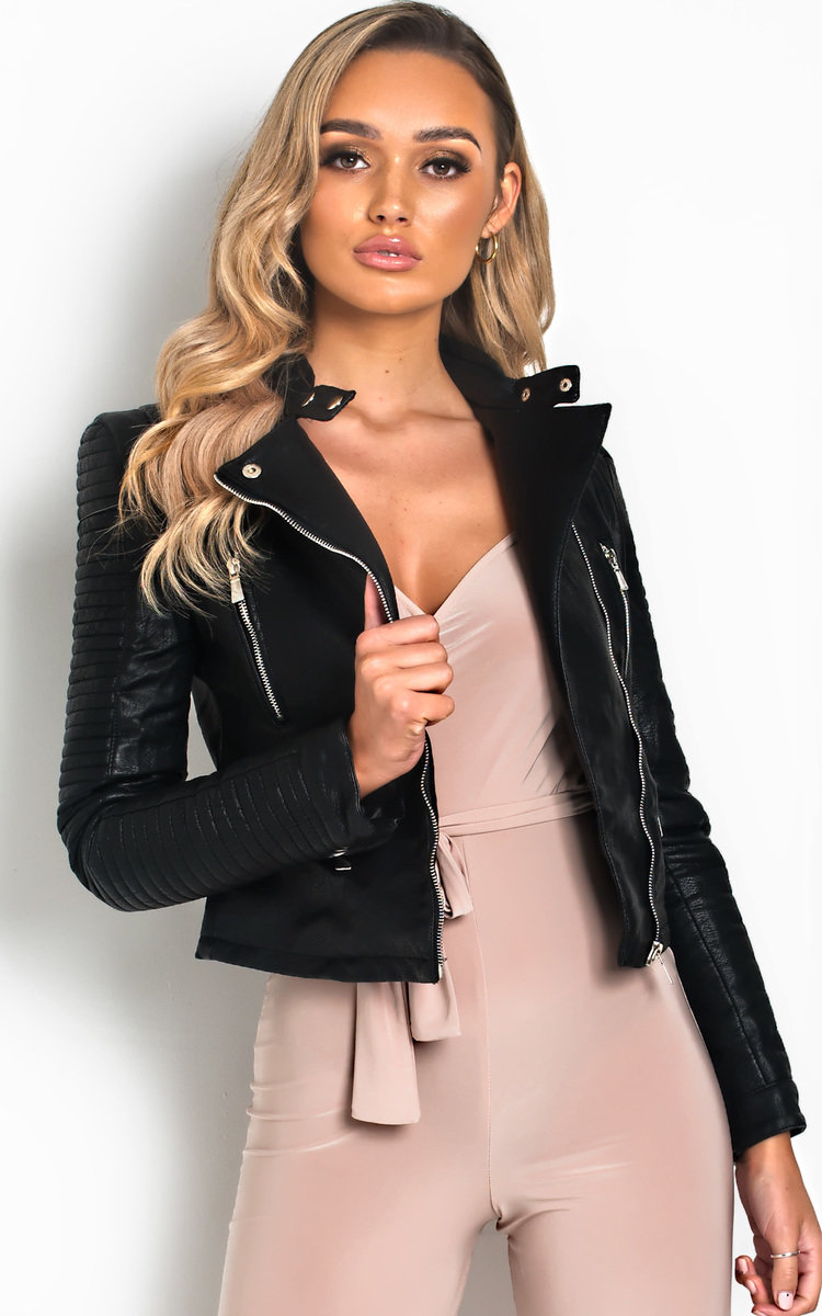 Randy Faux Leather Jacket in Black