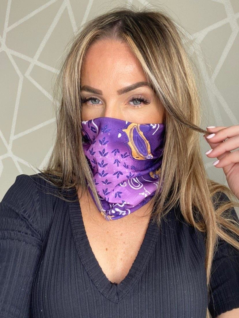 Re-Usable Printed Snood Face Mask in Purple