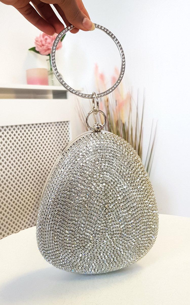 Reegan Diamante Drop Clutch Bag in Silver