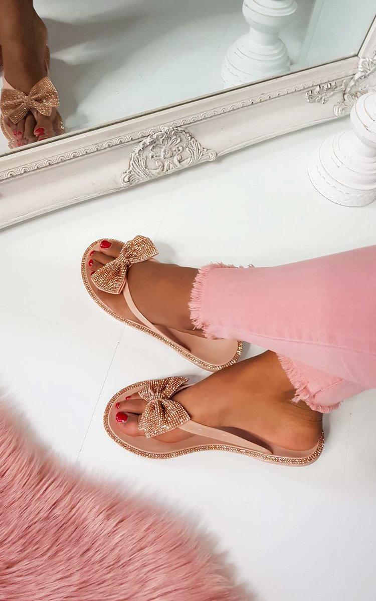 Regina Diamante Bow Flip Flop Sandals in Nude