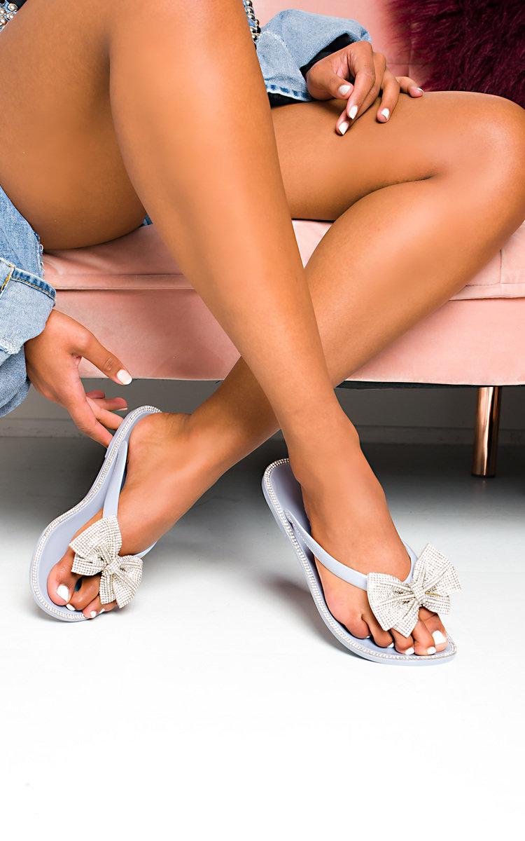 Regina Diamante Bow Flip Flop Sandals in Grey