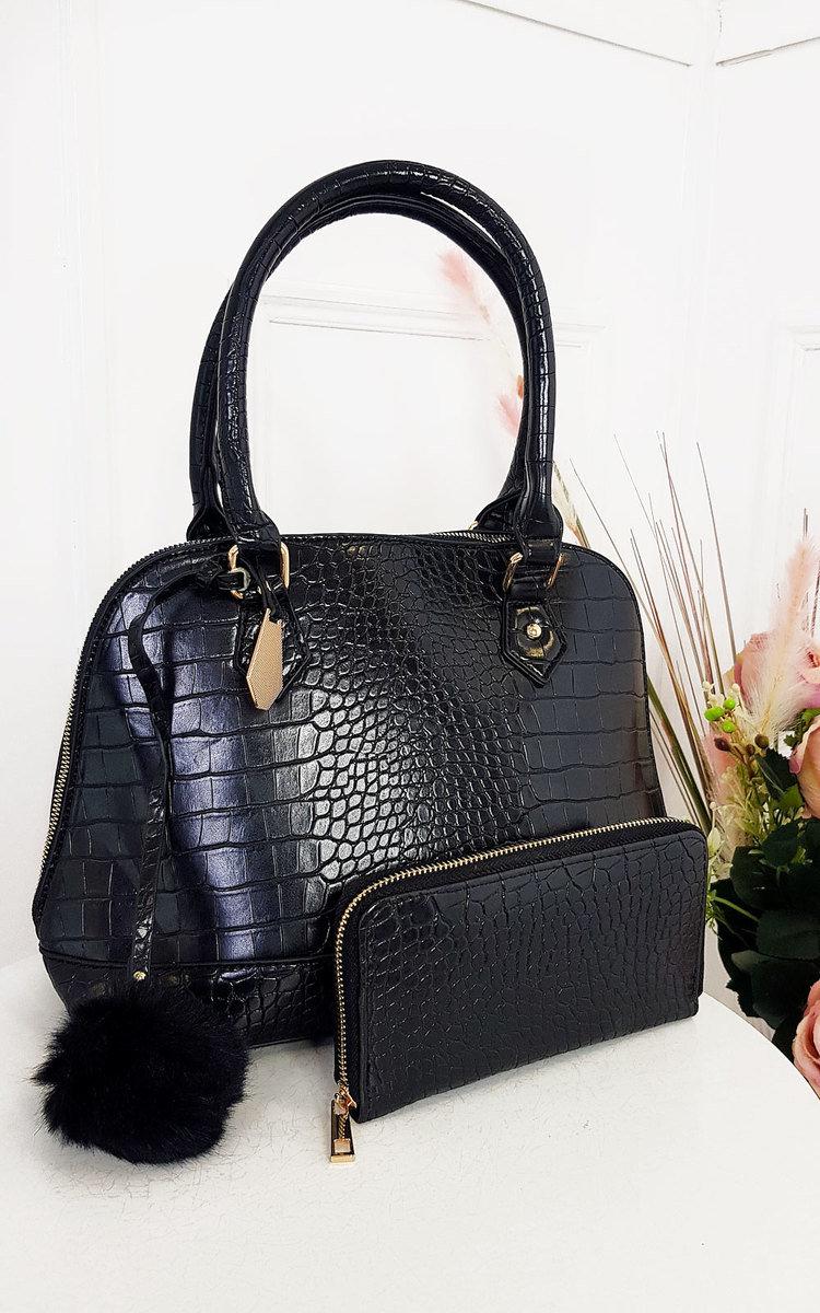 Remi Croc Print Handbag in Black