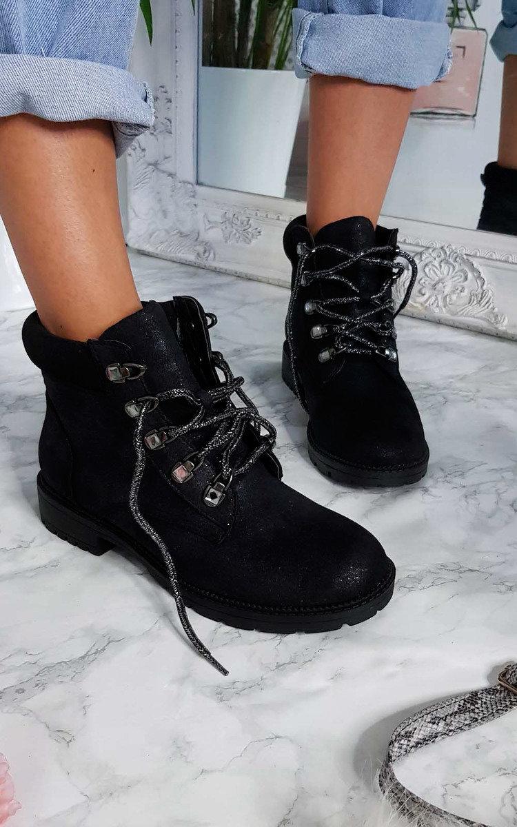 Rihanna Sparkle Desert Boots in Black