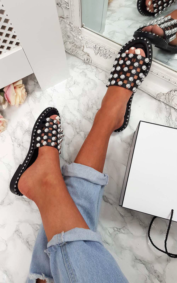 Romi Studded Caged Open Toe Sandals in Black