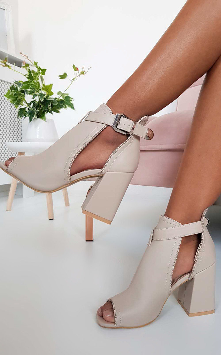 Ronnie Cut Out Block Heel Boots in Nude