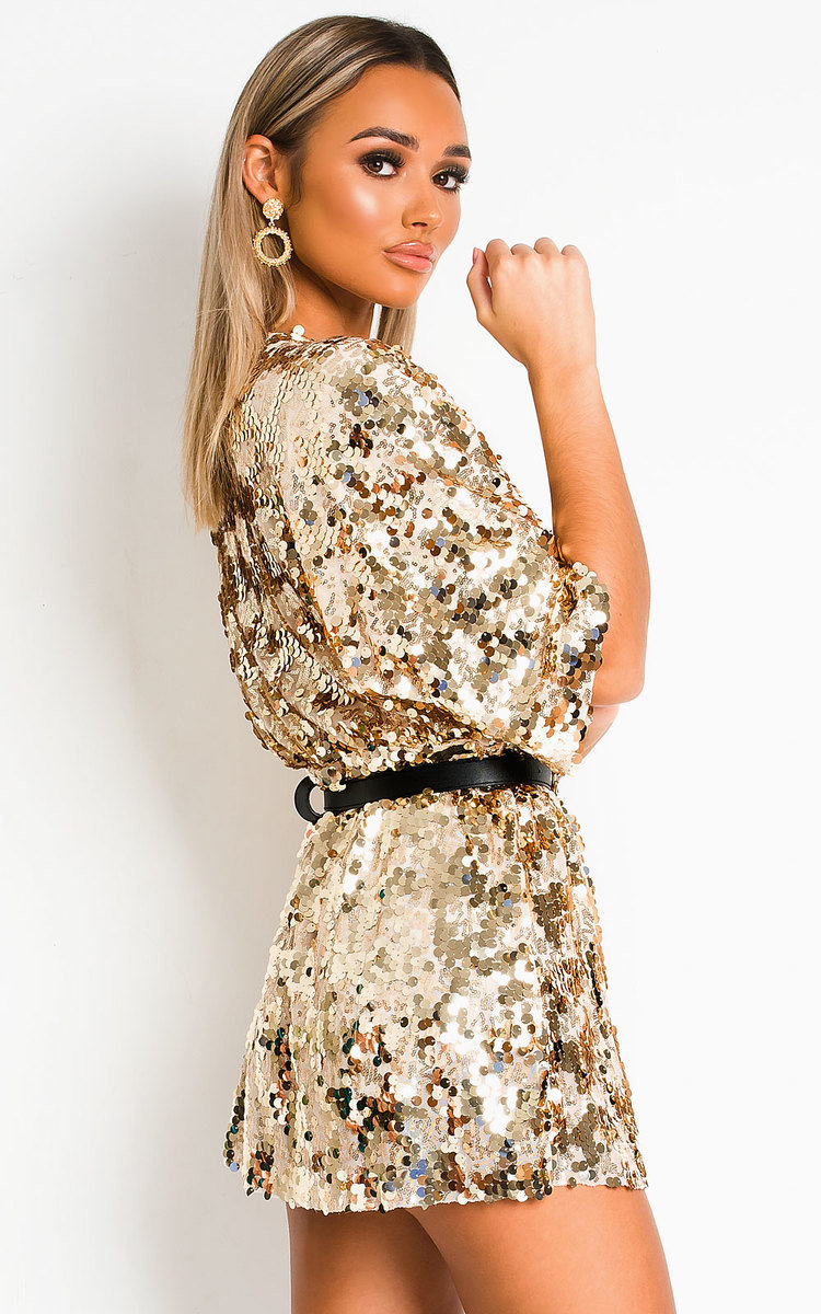 Sally Sequin Playsuit In Gold Ikrush