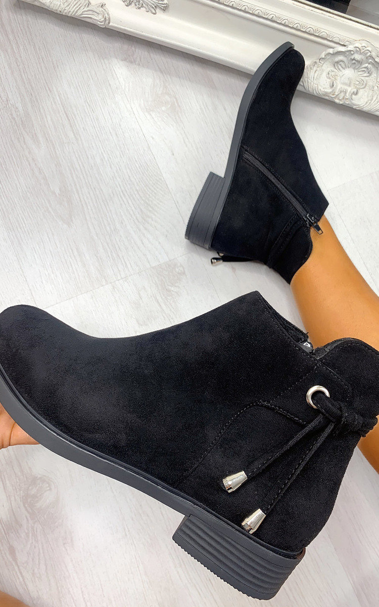 Sara Faux Suede Ankle Boots in Black