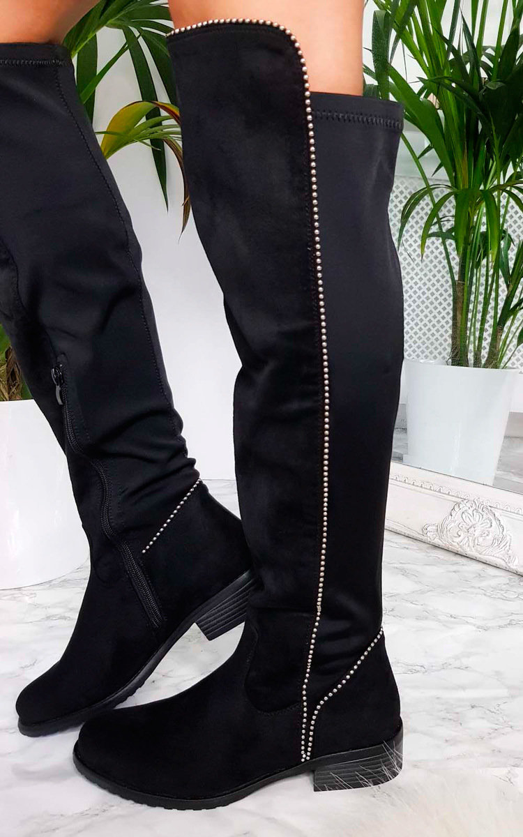 Sarah Studded Knee High Boots in Black s