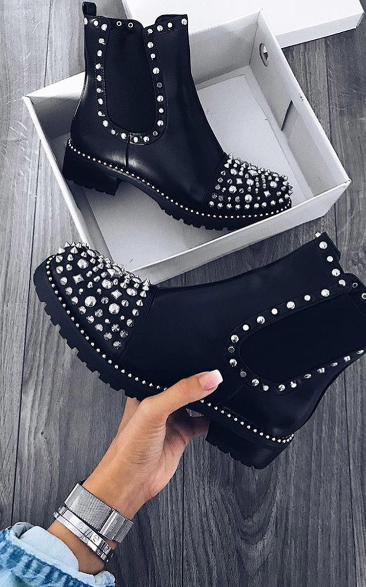 Sasha Studded Ankle Boots in Black