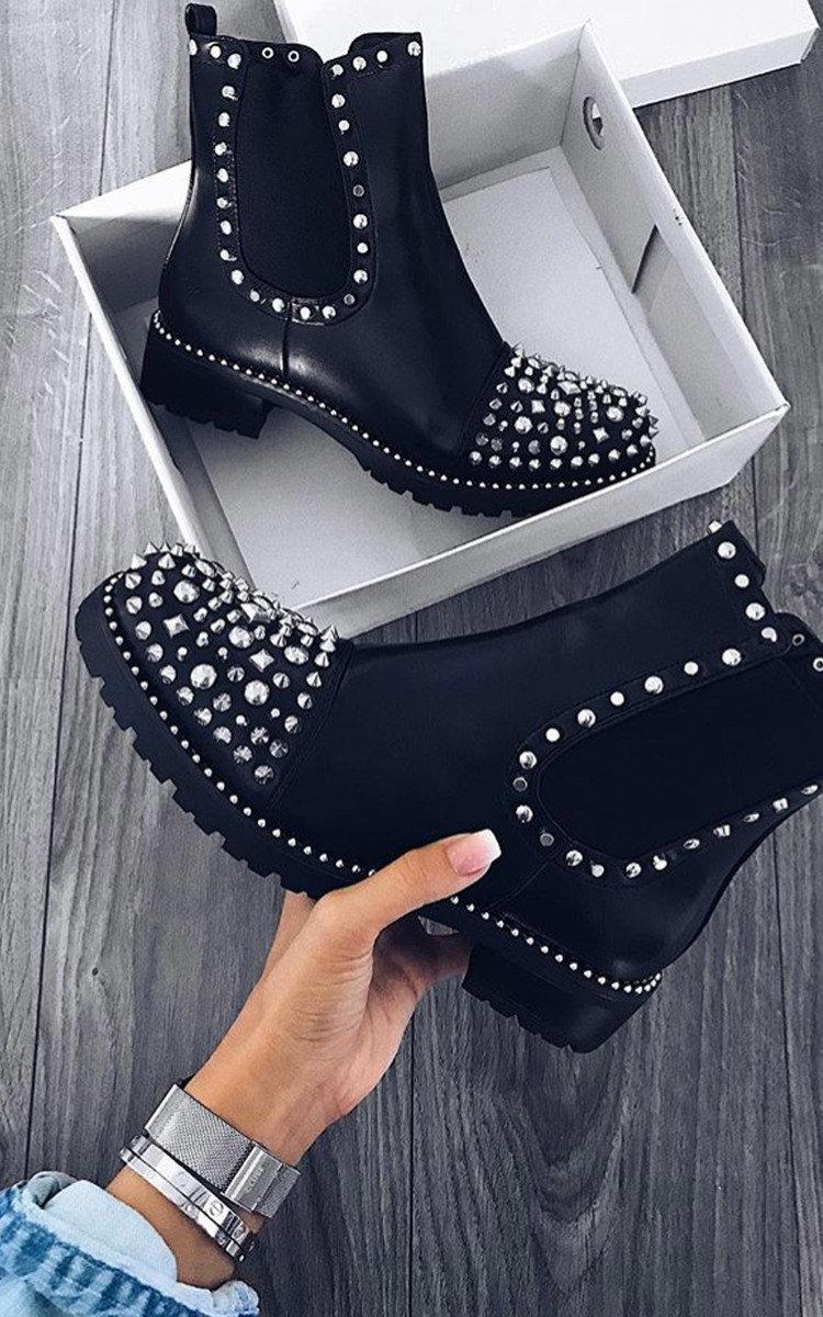 Sasha Studded Ankle Boots in Black   ikrush