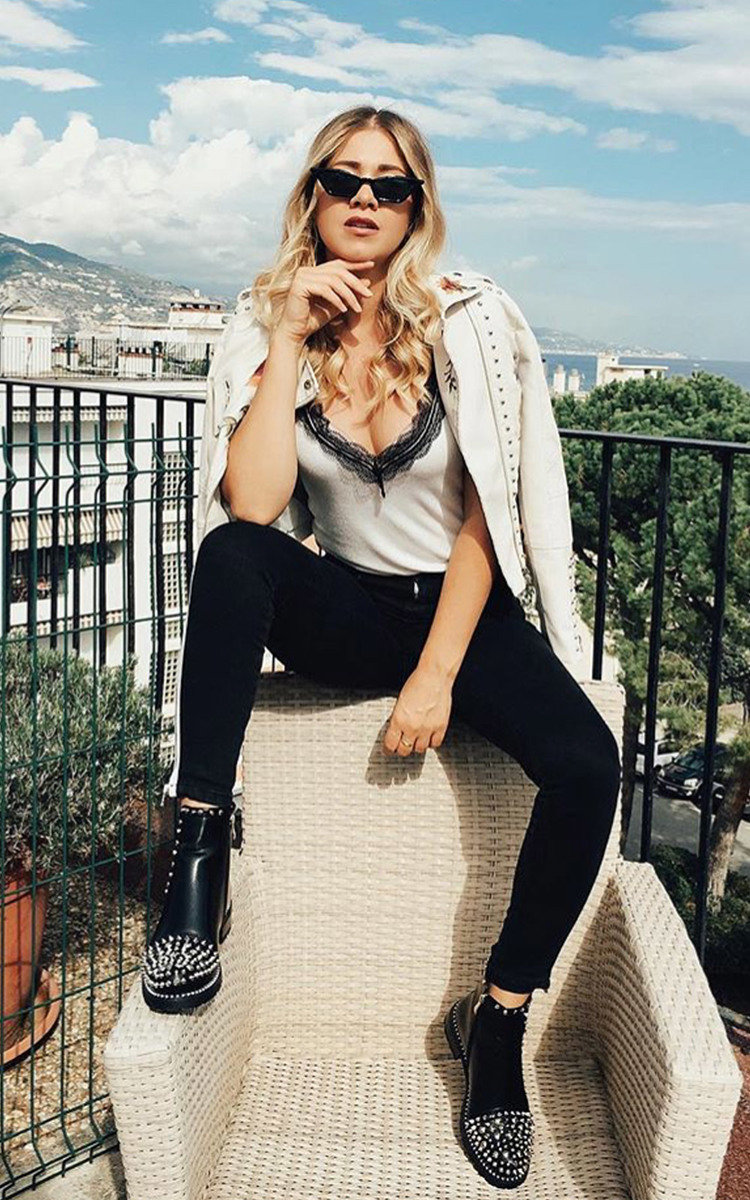Sasha Studded Ankle Boots in Black | ikrush