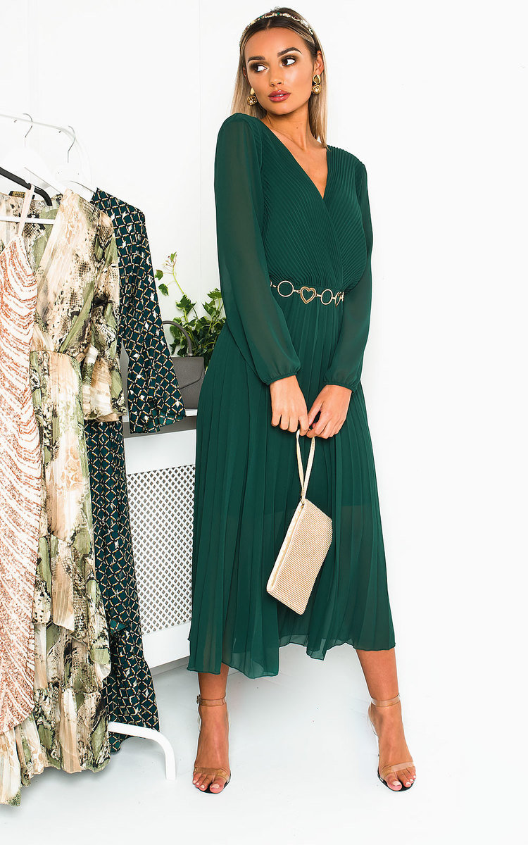 Selena Pleated Maxi Dress in Green