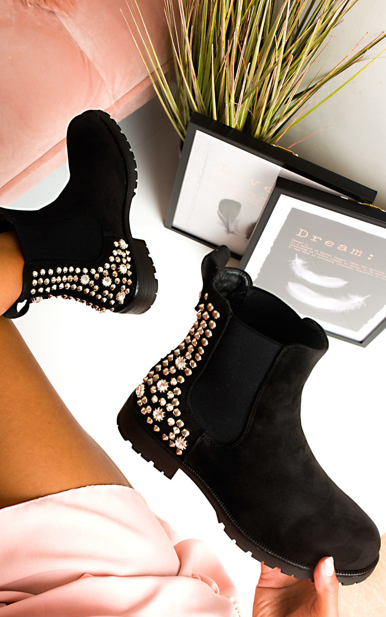Simone Embellished Ankle Boots in Black s