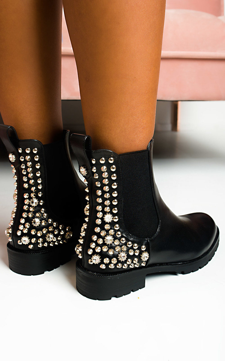 Simone Embellished Ankle Boots in Black