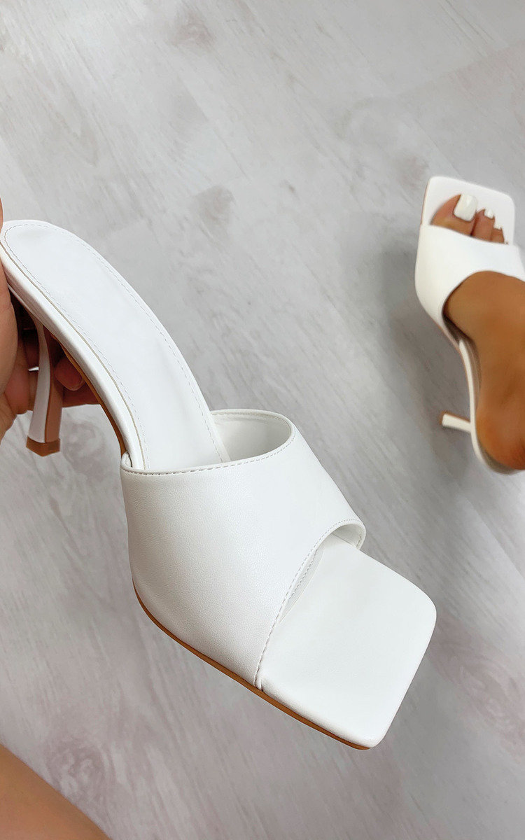 Sofia Square Toe Mule Heels in White