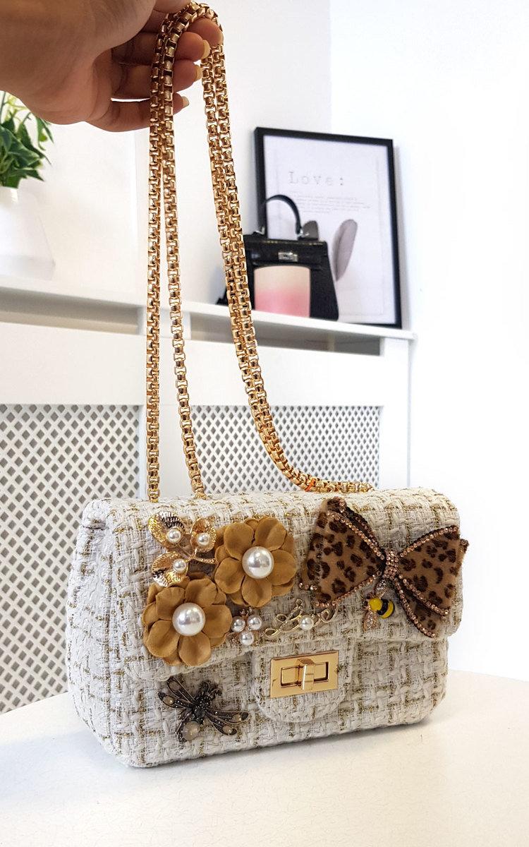 Sofie Flower & Bow Embellished Tweed Shoulder Bag in Leopard