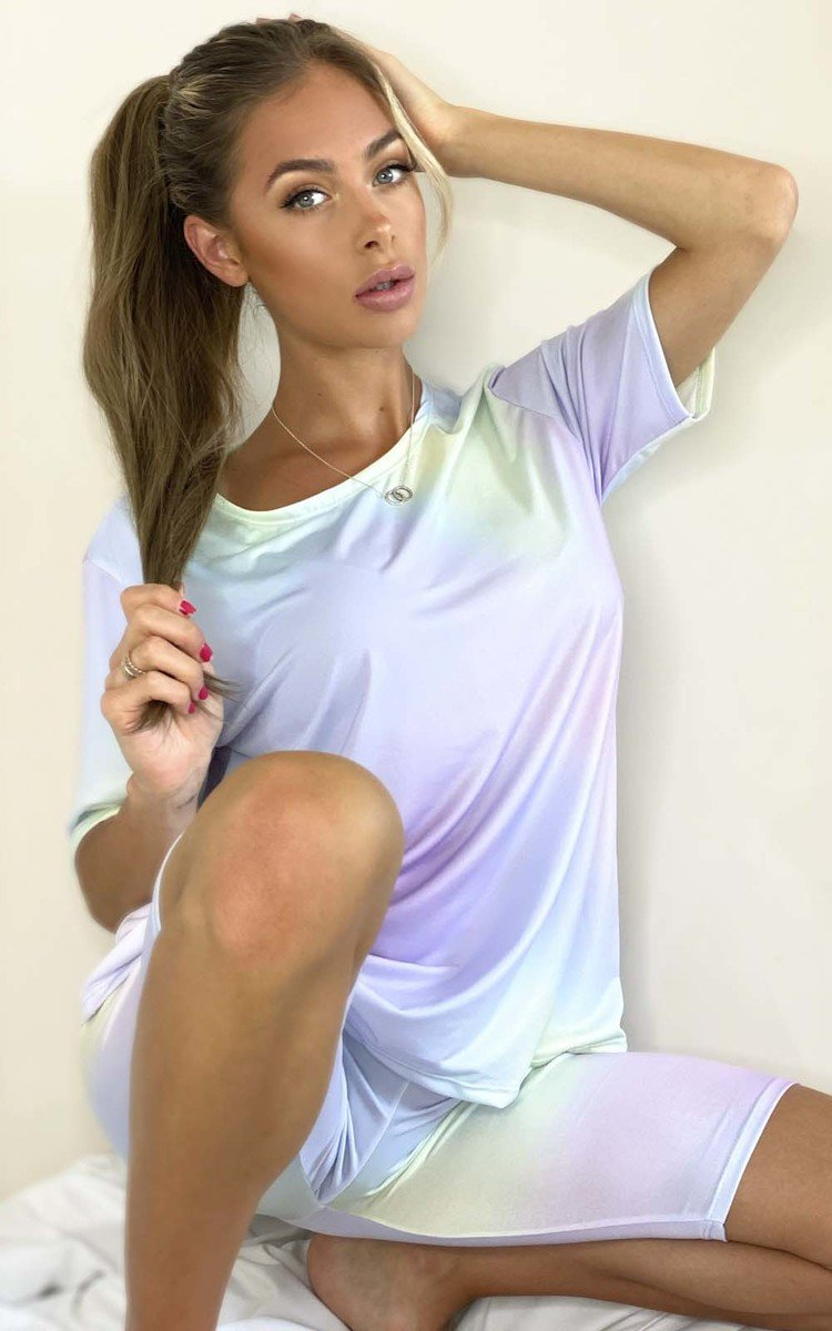Soph Tie Dye Cycle Shorts & Top Co-ord in Lilac