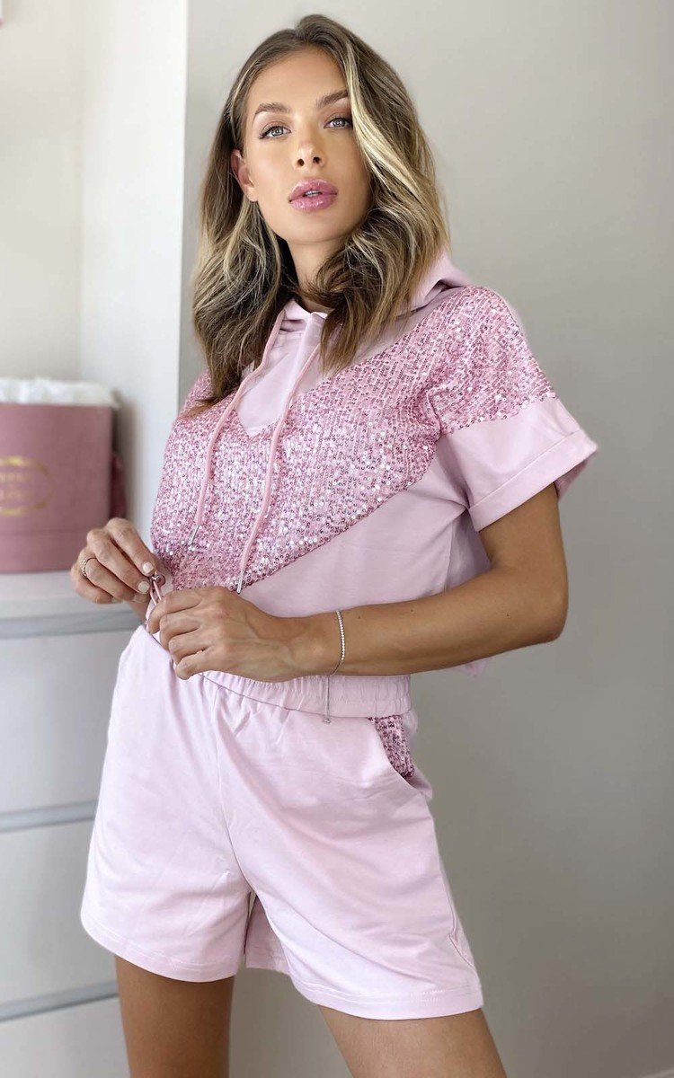 Steffy Sequin Shorts & Top Co-ord in Pink