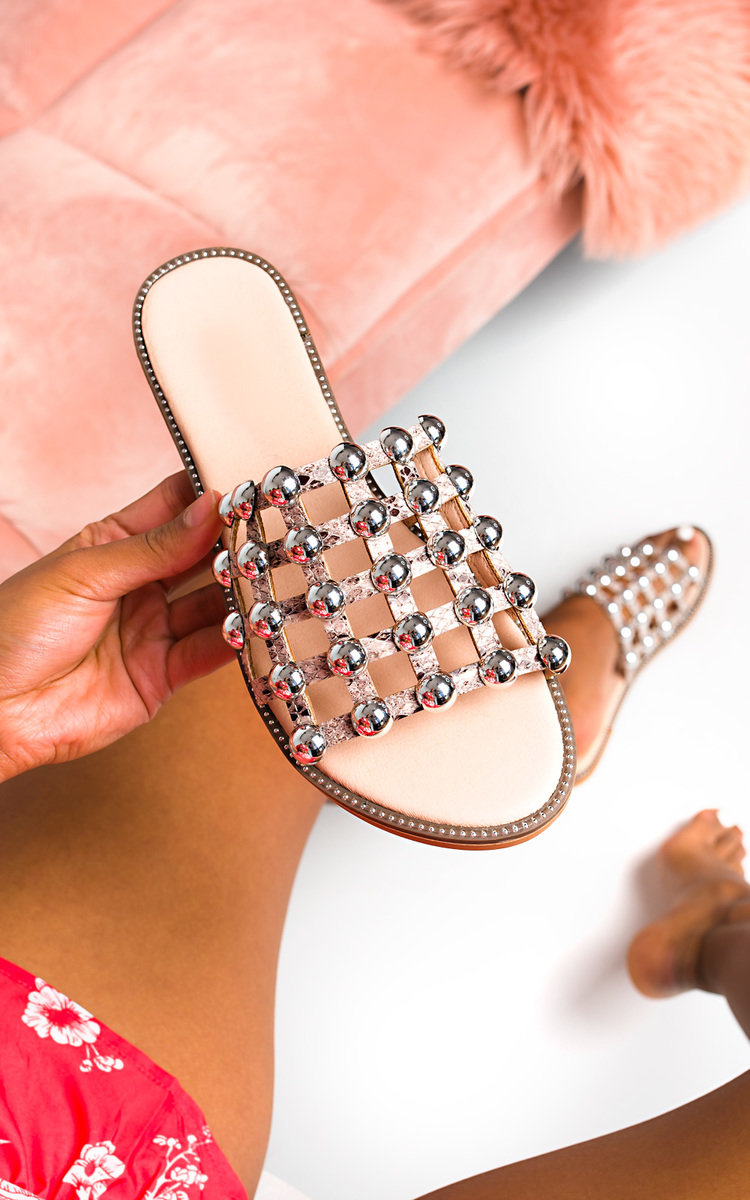 Stella Studded Caged Open Toe Sliders in Snake