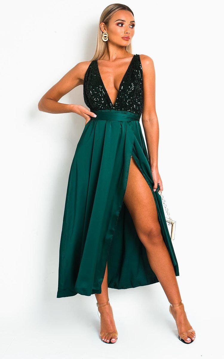 Stephanie Backless Sequin Midi Dress in Dark green