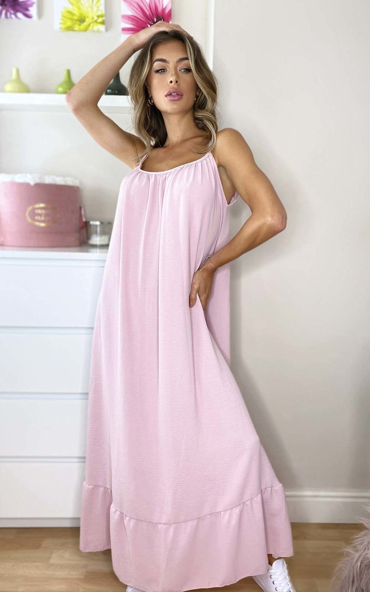 Tallulah Floaty Maxi Dress in Pink