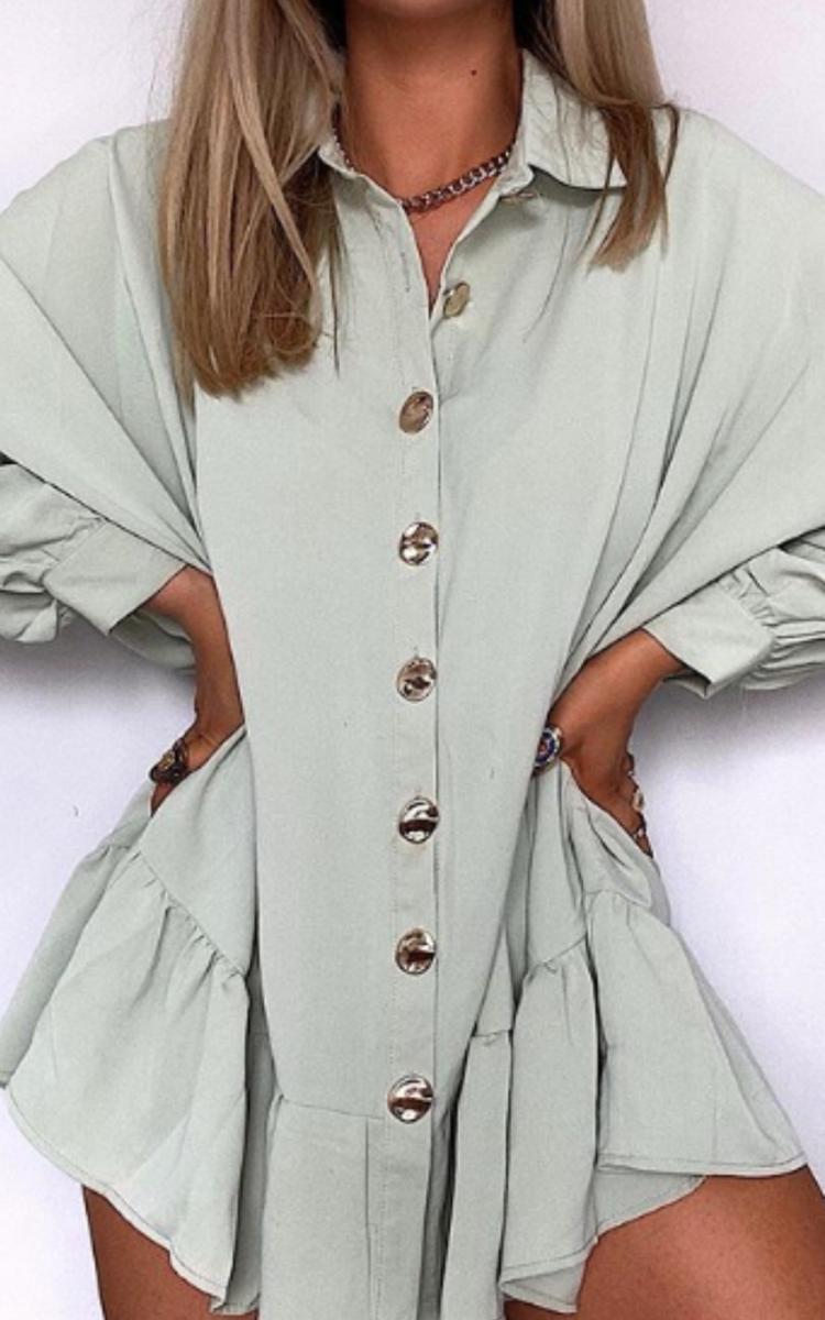 Tanya Oversized Frill Shirt Dress in Mint