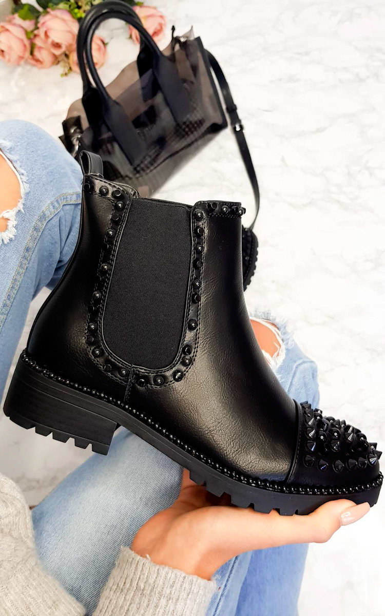 Taylor Studded Ankle Boots in Black