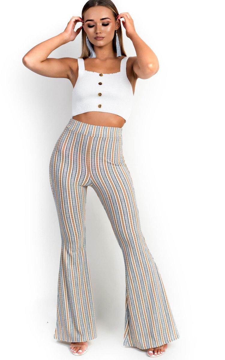 Tess High Waist Striped Flared Trousers in Beige
